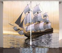 Denizde Yüzen Yelkenli Fon Perde Gökyüzü Bej Gri