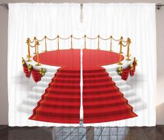 Kırmızı Halı Desenli Fon Perde Dekoratif Nostaljik