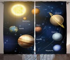 Güneş Sistemi Desenli Fon Perde Gezegen Lacivert