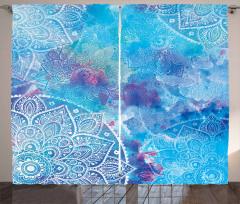 Mavi Mandala Desenli Fon Perde Dekoratif Şık