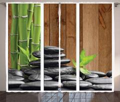 Siyah Taş ve Bambu Fon Perde Sağlık Terapi Şık