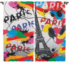 Paris ve Eyfel Kulesi Fon Perde Rengarenk Şık