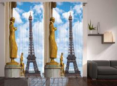 Altın Heykel Desenli Fon Perde Eyfel Kulesi Şık