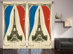 Bej Eyfel Kulesi Fon Perde Nostaljik Paris Şık