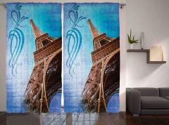 Mavi Eyfel Kulesi Fon Perde Kahverengi Nostaljik