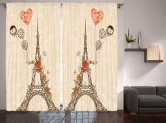 Çiçek ve Eyfel Kulesi Fon Perde Paris Nostaljik