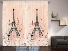 Eyfel Kulesi ve Güller Fon Perde Romantik Şık