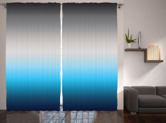 Gri Mavi Desenli Fon Perde Dekoratif Trend