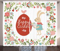 Paskalya Tavşanı Fon Perde Çiçek Kuş Dekoratif