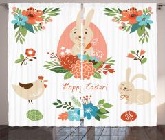 Tavşan ve Çiçek Desenli Fon Perde Paskalya Şık
