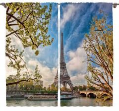 Eyfel ve Ağaçlar Fon Perde Paris Gökyüzü Romantik