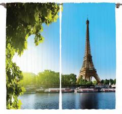 Mavi Gökyüzü ve Eyfel Fon Perde Şık Tasarım Paris