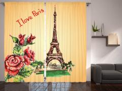 Eyfel Kulesi Manzaralı Fon Perde Romantik Güller