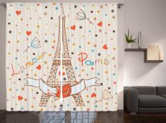 Eyfel'de Romantizm Temalı Fon Perde Paris ve Aşk