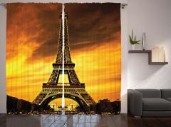 Paris'te Gün Batımı Manzaralı Fon Perde Romantik