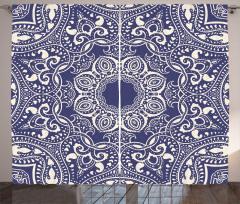 Mavi Beyaz Çiçekli Fon Perde Dekoratif Şık Dizayn
