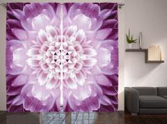 Mor Yapraklı Çiçek Fon Perde Dekoratif Şık Tasarım