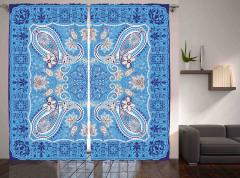 Mavi Çiçek Temalı Fon Perde Şal Desenli Otantik