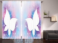 Işıltılı Kelebekler Desenli Fon Perde Çeyizlik