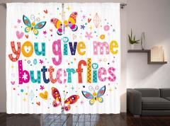 Kelebekli Eğlenceli Fon Perde Rengarenk