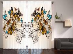 Romantik Kelebek Desenli Fon Perde Çeyizlik Mavi