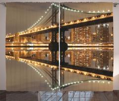 Işıklı Gökdelenler ve Köprü Fon Perde Şık Tasarım