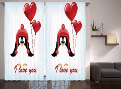 Aşık Penguen Desenli Fon Perde Kırmızı Şık Tasarım