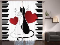 Aşık Kediler Desenli Fon Perde Romantik Dekoratif