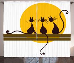 Siyah Kedi Desenli Fon Perde Şık Tasarım Sarı
