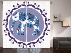 Mavi Fil Desenli Fon Perde Mor Çiçekler