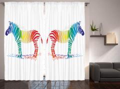 Rengarenk Zebra Desenli Fon Perde Beyaz Fonlu