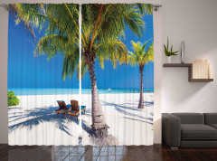 Egzotik Ada Manzaralı Fon Perde Palmiye ve Deniz