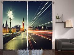 Londra'da Akşam Temalı Fon Perde Big Ben İngiltere