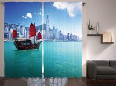 Hong Kong'da Bir Yelkenli Temalı Fon Perde
