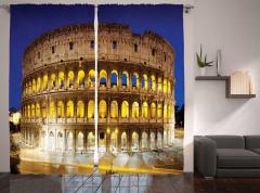 Roma Geceleri Temalı Fon Perde Kolezyum Gökyüzü