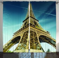 Eyfel Kulesi Manzaralı Fon Perde Paris Temalı