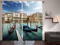 Venedik'te Gondol Gezisi Temalı Fon Perde İtalya