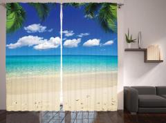 Egzotik Kumsal Temalı Fon Perde Bulut Palmiye