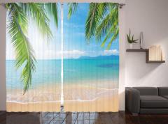 Tropikal Plaj Temalı Fon Perde Kumsal ve Deniz