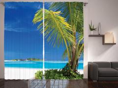 Issız Cennet Temalı Fon Perde Egzotik Ada Palmiye