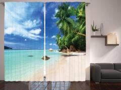 Tropikal Ada Temalı Fon Perde Kumsal Deniz Palmiye