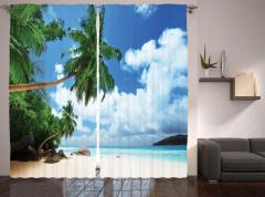 Ada ve Gökyüzü Manzaralı Fon Perde Palmiye Kumsal