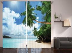 Egzotik Kumsal Manzaralı Fon Perde Palmiyeli