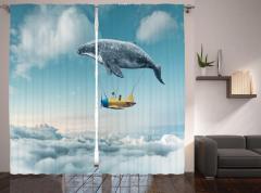 Gökyüzünde Uçan Balina Temalı Fon Perde Rüya