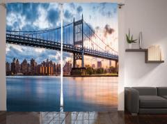 New York Manzaralı Fon Perde Köprü ve Gökyüzü