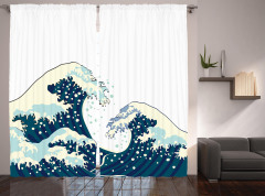 Geleneksel Japon Çizimli Fon Perde Dalgalar