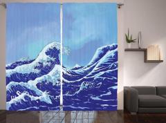 Lacivert Dalgalı Fon Perde Geleneksel Japon Çizimi