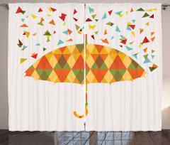 Renkli Üçgen Yağmuru Desenli Fon Perde Şemsiyeli
