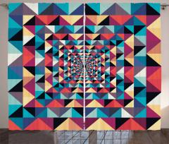 Geometrik Retro Desenli Fon Perde Rengarenk