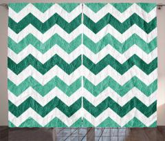 Yeşil Zikzak Temalı Fon Perde Geometrik Desenli